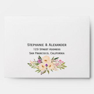 Watercolor Bouquets Anemones Wedding Envelopes
