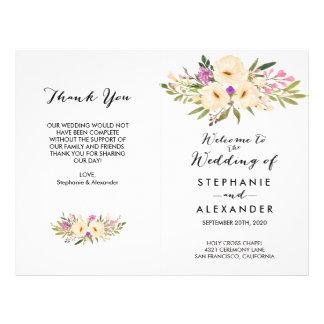 Watercolor Bouquets Anemones Wedding Program