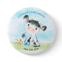 Watercolor Boy Cow Baby Shower Farm Button