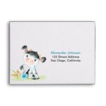 Watercolor Boy Cow Baby Shower Farm Envelope