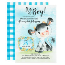 Watercolor Boy Cow Baby Shower Farm Invitation