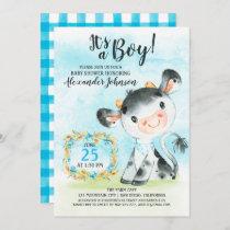 Watercolor Boy Cow Baby Shower Farm Invitation