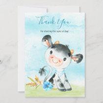 Watercolor Boy Cow Farm Thank You