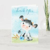 Watercolor Boy Cow Farm Thank You Card