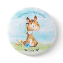 Watercolor Boy Horse Baby Shower Farm Button