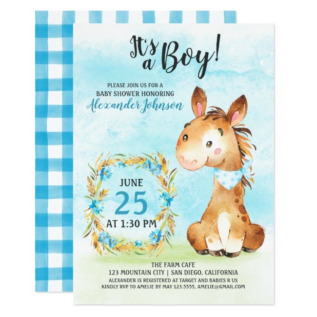 Watercolor Boy Horse Baby Shower Farm Invitation