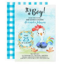 Watercolor Boy Rooster Baby Shower Farm Invitation