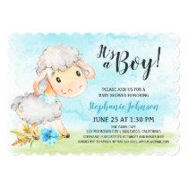 Watercolor Boy Sheep Baby Shower Farm Invitation