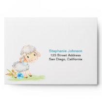 Watercolor Boy Sheep Farm Envelope