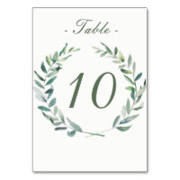 Watercolor Branches Table Number Card