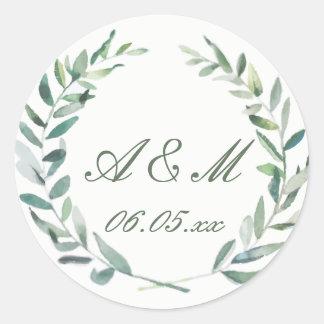 Watercolor Branches Wedding Favor Sticker