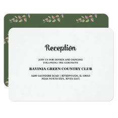 Watercolor Branches  Wedding Reception Cards at Zazzle