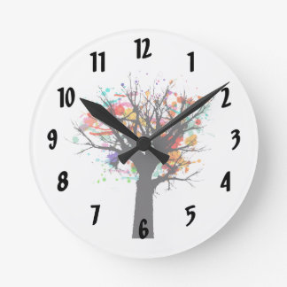 Watercolor branchy tree design clock