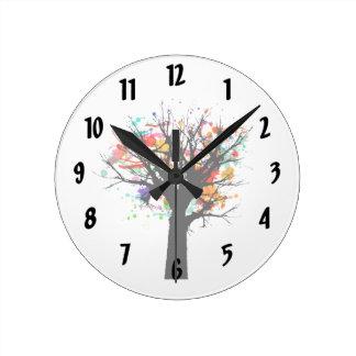 Watercolor branchy tree design round wall clocks