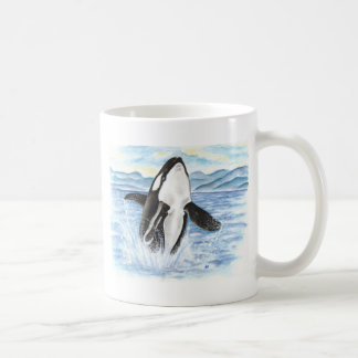 Watercolor Breaching Orca Whale Coffee Mug