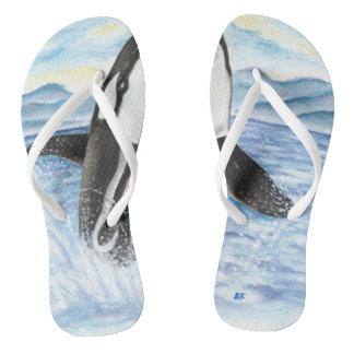 Watercolor Breaching Orca Whale Flip Flops