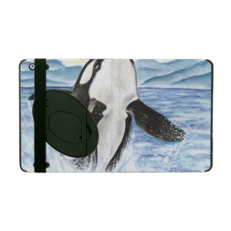 Watercolor Breaching Orca Whale iPad Folio Case