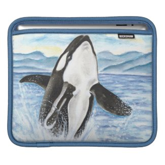 Watercolor Breaching Orca Whale iPad Sleeve