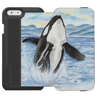 Watercolor Breaching Orca Whale iPhone 6/6s Wallet Case