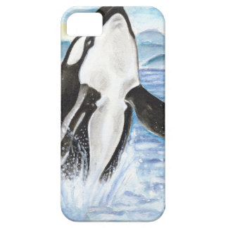 Watercolor Breaching Orca Whale iPhone SE/5/5s Case