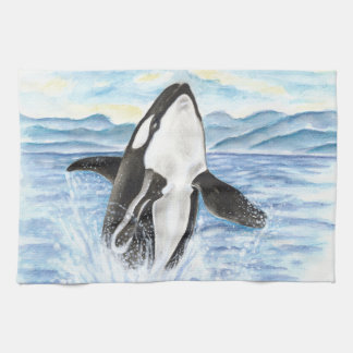 Watercolor Breaching Orca Whale Kitchen Towel