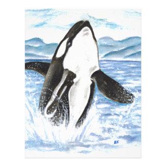 Watercolor Breaching Orca Whale Letterhead