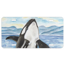 Watercolor Breaching Orca Whale License Plate
