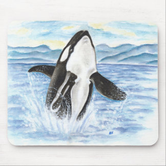Watercolor Breaching Orca Whale Mouse Pad