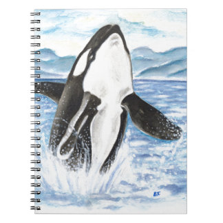 Watercolor Breaching Orca Whale Notebook
