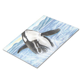 Watercolor Breaching Orca Whale Notepad