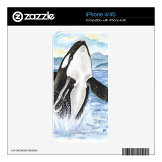 Watercolor Breaching Orca Whale Skins For iPhone 4S