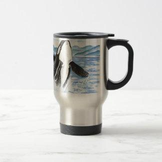 Watercolor Breaching Orca Whale Travel Mug
