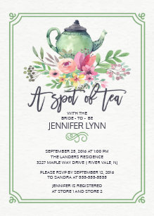 watercolor bridal shower spot of tea shower invite