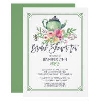 Watercolor Bridal Shower Tea Wedding Shower Invite