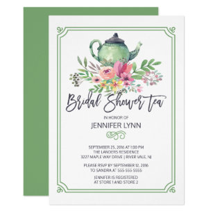 Watercolor Bridal Shower Tea Wedding Invite