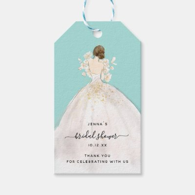 Watercolor Bride in Gown Bridal Shower Invitation Gift Tags