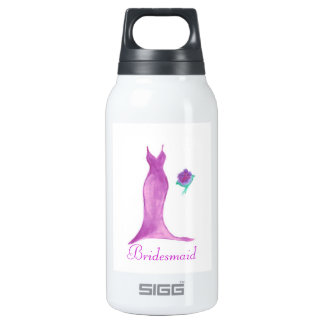Watercolor Bridesmaid Dress Insulated Water Bottle