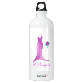 Watercolor Bridesmaid Dress Water Bottle