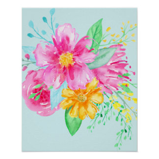 Watercolor Bright Pink Flowers Poster
