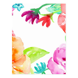 Watercolor Bright Red and Orange Flowers Postcard
