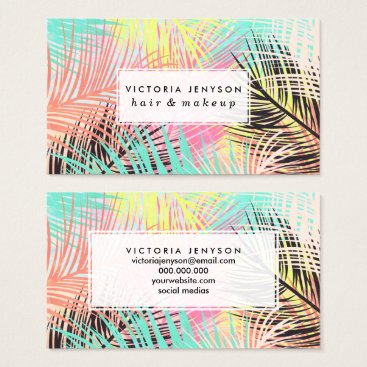 Beach Themed Watercolor bright tropical palm tree leaf pattern business card