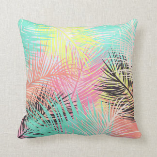 Watercolor bright tropical palm tree leaf pattern throw pillow