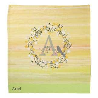 Watercolor Brush Lines, Spring Wreath Monogram Bandana