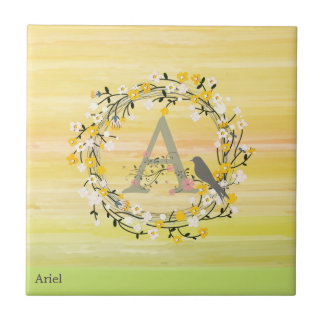 Watercolor Brush Lines, Spring Wreath Monogram Ceramic Tile