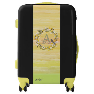 Watercolor Brush Lines, Spring Wreath Monogram Luggage