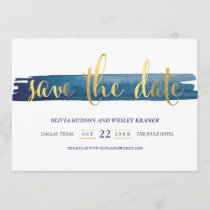Watercolor Brush Stroke Faux Foil Save the Date