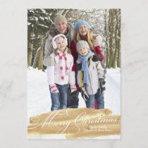 Watercolor Brush Stroke | Gold Holiday Card