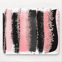 Watercolor Brush Strokes Rose Gold Faux Glitter Mouse Pad