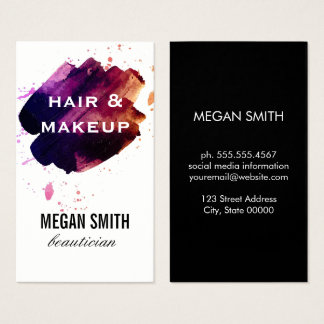 Watercolor brushed / Hair and Makeup Business Card