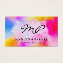 Watercolor Brushed Monogram Business Card